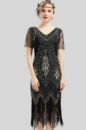 Charleston Dress 1920s Great Gatsby Flapper Dress Sequined
