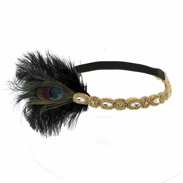 Gold Black 1920s Headpiece