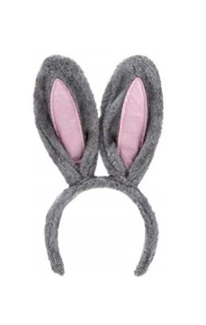 Grey Bunny Ears Headband Rabbit Hare Costume Fluffy Easter