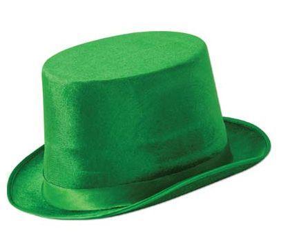 Green Top Hat St Patricks Day Hat Velvet Felt Irish Top Hat