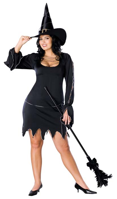 Halloween Witch Fancy Dress Ladies BEWITCHED Costume Plus Size