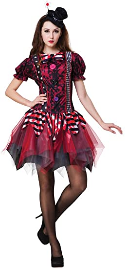 Ladies Horror Clown Costume Halloween Fancy Dress