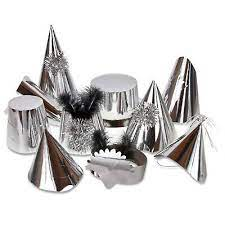 silver party hats foil metallic party hats